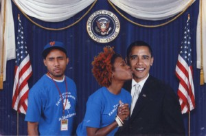 Left to Right: Insulted husband, crazy wife and a cardboard Obama